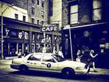 Urban Scene  Yellow Taxi  Prince Street  Lower Manhattan  New York City  US  White Worn Vintage