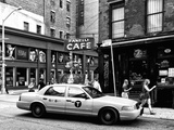 Urban Scene  Yellow Taxi  Prince Street  Lower Manhattan  NYC  US  Black and White Photography