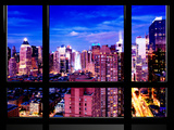 Window View  Theater District and Times Square Views at Pink Night  42 Street  Manhattan  NYC
