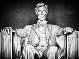 Statue of Abraham Lincoln  Washington DC  District of Columbia  White Frame  White Frame