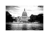 Capitol Reflecting Pool and the Capitol Building  US Congress  Washington DC  White Frame