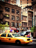 Urban Scene  Yellow Taxi  34th St  Downtown Manhattan  New York  United States  Vintage