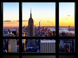 Window View  Empire State Building and One World Trade Center (1WTC) at Sunset  Manhattan  New York