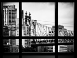 Window View  Ed Koch Queensboro Bridge  Roosevelt Island Tram Station  Manhattan  New York