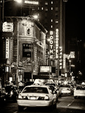 Urban Scene with Yellow Cab by Night at Times Square  Manhattan  NYC  US  Old Sepia Photography