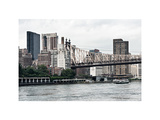 Ed Koch Queensboro Bridge  Sutton Place and Buildings  East River  Manhattan  New York  White Frame