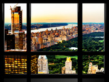 Window View  Skyscrapers  Central Park and Upper West Side Views at Nightfall  Manhattan  New York