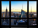 Window View  Skyline at Sunset  Midtown Manhattan  Hudson River  New York