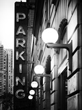 Garage Parking Sign  W 43St  Times Square  Manhattan  New York  US  Black and White Photography