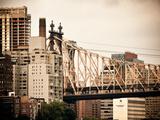 Ed Koch Queensboro Bridge  Roosevelt Island Tram Station  Manhattan  New York  Vintage