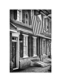 Front of House with an American Flag  Philadelphia  Pennsylvania  US  White Frame