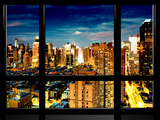 Window View  Theater District and Times Square Views at Night  42 Street  Manhattan  NYC