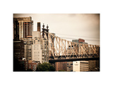 Ed Koch Queensboro Bridge  Roosevelt Island Tram Station  Manhattan  New York  Vintage  White Frame