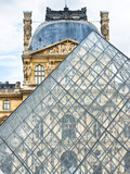 View of the Pyramid and the Louvre Museum Building  Paris  France