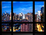 Window View  Theater District and Times Square Views at Nightfall  42 Street  Manhattan  NYC