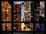 Window View  Architecture and Buildings by Night  42 Street  Times Square  Midtown Manhattan  NYC