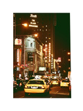 Urban Scene with Yellow Cab by Night at Times Square  Manhattan  NYC  White Frame