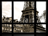 Window View  Special Series  the Eiffel Tower with Building View  Paris  Europe  Sepia Photography