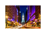 City Hall and Avenue of the Arts by Night  Philadelphia  Pennsylvania  US  White Frame