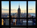 Window View  View Towards Downtown at Sunset  Manhattan  Hudson River  New York