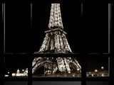 Window View  Special Series  Eiffel Tower by Night  Paris  France  Europe  Sepia Photography