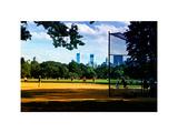 Baseball Game in Central Park  Manhattan  New York City  White Frame  Full Size Photography