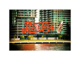 Pepsi Cola Bottling Sign  Long Island City  New York  Vintage  White Frame  Full Size Photography