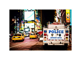 Yellow Cabs and Police Truck at Times Square by Night  Manhattan  New York  Vintage Colors