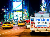 Yellow Cabs and Police Truck at Times Square by Night  Manhattan  New York  US  Colors Night
