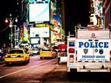 Yellow Cabs and Police Truck at Times Square by Night  Manhattan  New York  US  Vintage Colors