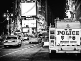 Yellow Cabs and Police Truck at Times Square by Night  Manhattan  New York