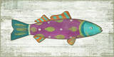 Funky Fish 4 Pink Wood Sign