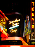 American Brooklyn Diner Cafe at Times Square by Night  Manhattan  NYC  US  USA  Vintage Colors