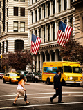 Crosswalk with Yellow Taxis and American Frags  Manhattan  New York  United States  Vintage