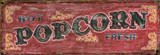 Red Popcorn Wood Sign