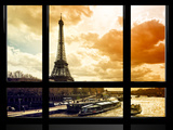 Window View  Special Series  Eiffel Tower and the Seine River at Sunset  Paris  France  Europe