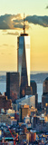 Vertical Panoramic View  the One World Trade Center (1Wtc) at Sunset  Manhattan  New York  US