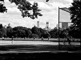 Baseball Game in Central Park  Manhattan  New York City  Black and White Photography