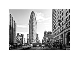 Black and White Photography Landscape of Flatiron Building and 5th Ave  Manhattan  NYC  White Frame