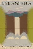 See America Visit National Parks Tourism Travel Vintage Ad Plastic Sign