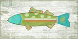 Funky Fish 3 Green Wood Sign
