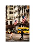 Crosswalk with Yellow Taxis and American Frags  Manhattan  New York  White Frame  Vintage