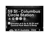 Subway Station Signs  59 Street Columbus Circle Station  Manhattan  NYC  White Frame