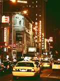 Urban Scene with Yellow Cab by Night at Times Square  Manhattan  NYC  Vintage Colors Photography