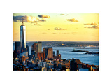 One World Trade Center (1WTC) at Sunset  Hudson River and Statue of Liberty View  Manhattan  NYC
