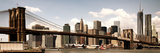 Vintage Panoramic  Skyline of NYC  Manhattan and Brooklyn Bridge  One World Trade Center  US
