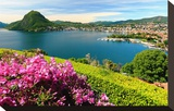 View of the Lake and Town with Monte San Salvatore Mountain  City of Lugano