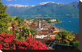 View of the Town Centre with Parish Church and Lake  Ascona  Lake Maggiore  Switzerland
