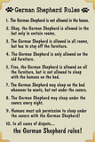 German Shepherd House Rules Humor Plastic Sign