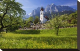 Zugspitze Village Grainau with Catholic Parish Church and Zugspitze Mountains  Germany